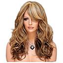billige Kostymeparykk-Syntetiske parykker Bølget Stil Side del Parykk Lang Beige Syntetisk hår 24 tommers Dame Dame syntetisk Beste kvalitet Mørkebrun Parykk Laflare