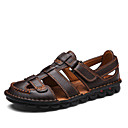 ราคาถูก รองเท้าแตะผู้ชาย-สำหรับผู้ชาย รองเท้าสบาย ๆ แน๊บป้า Leather ฤดูร้อน / ฤดูร้อนฤดูใบไม้ผลิ ไม่เป็นทางการ รองเท้าแตะ ระบายอากาศ สีดำ / สีน้ำตาล