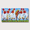 billige Abstrakte malerier-Hang malte oljemaleri Håndmalte - Abstrakt Dyr Moderne Uten Indre Ramme