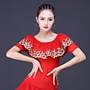 baratos Roupas de Dança de Salão-Dança Latina Blusas Mulheres Treino / Espetáculo Poliéster / Fibra de Leite Bordado / Combinação Meia Manga Blusa