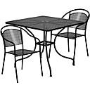 זול סטי ריהוט גינה-מתכת אפורה ממתכת 3 פטיו חוצות רהיטים
