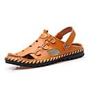 זול סנדלים לגברים-בגדי ריקוד גברים נעלי נוחות עור אביב קיץ יום יומי סנדלים נושם שחור / צהוב / חאקי