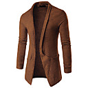 ราคาถูก กางเกงปีนเขาและกางเกงขาสั้น-สำหรับผู้ชาย สีพื้น แขนยาว ชุดคลุมไหล เสื้อกันหนาวจัมเปอร์, ปกคอแบะของเสื้อแบบพึค สีดำ / ขาว / สีกากี M / L / XL