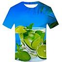 billige T-skjorter og singleter til herrer-Bomull Rund hals Store størrelser T-skjorte Herre - 3D / Grafisk / Frukt, Trykt mønster Gatemote / overdrevet Blå / Kortermet