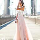 זול שמלות שושבינה-גזרת A עם תכשיטים עד הריצפה טול שמלה לשושבינה  עם תחרה על ידי LAN TING Express