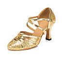 זול שרשראות-בגדי ריקוד נשים נעלי ריקוד סינטטיים נעליים מודרניות נצנוץ / Paillette עקבים עקב רחב מותאם אישית זהב / כסף / הצגה / אימון