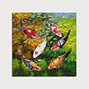 povoljno Slike za cvjetnim/biljnim motivima-Hang oslikana uljanim bojama Ručno oslikana - Pejzaž Životinje Moderna Uključi Unutarnji okvir
