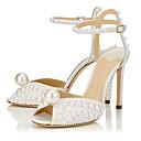 ราคาถูก รองเท้าแต่งงาน-สำหรับผู้หญิง รองเท้าแตะ ส้น Stiletto หินประกาย / ของประดับด้วยลูกปัด Synthetics อังกฤษ / minimalism ฤดูใบไม้ผลิ & ฤดูใบไม้ร่วง / ฤดูร้อน ขาว / งานแต่งงาน / พรรคและเย็น