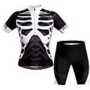 ราคาถูก เสื้อปั่นจักรยาน-WOSAWE สำหรับผู้ชาย สำหรับผู้หญิง แขนสั้น Cycling Jersey with Shorts สีดำ / สีขาว Skeleton จักรยาน ชุดออกกำลังกาย ระบายอากาศ แห้งเร็ว กระเป๋าหลัง Sweat-wicking กีฬา เส้นใยสังเคราะห์ Skeleton / ยืด