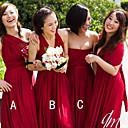 זול שמלות שושבינה-גזרת A סטרפלס / כתפיה אחת עד הריצפה שיפון שמלה לשושבינה  עם סלסולים על ידי JUDY&JULIA