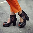 זול אקזוטי Dancewear-בגדי ריקוד נשים PU אביב קיץ סנדלים עקב עבה בוהן מציצה לבן / שחור