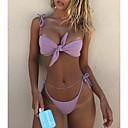 billige Bikinier og damemote-Dame Grunnleggende Bohem Hvit Rosa Grå Bandeau G-streng Snørebinding Bikini Badetøy - Ensfarget Sløyfe Blondér S M L Hvit