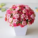 billige Jars & Boxes-1pc kunstig plastblomst 21 diamantrosa 7 gaffelfjær liten rose rose bud kunstig blomst