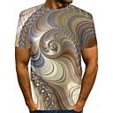 billige Baderomskraner-Rund hals EU / USA størrelse T-skjorte Herre - Fargeblokk / 3D / Grafisk, Trykt mønster Gatemote / overdrevet Klubb Lysebrun / Kortermet