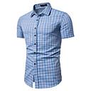 Χαμηλού Κόστους Ρούχα τρεξίματος-Ανδρικά Πουκάμισο Δουλειά Βίντατζ / Βασικό - Βαμβάκι Καρό / Τετράγωνο Καρό Κλασσικός γιακάς Στάμπα Μπλε Απαλό
