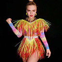 povoljno Egzotična plesna odjeća-Egzotična plesna odjeća Kombinezoni za izlaske Žene Seksi blagdanski kostimi Spandex S resicama Dugih rukava Hula-hopke / Onesie