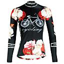 ราคาถูก เสื้อปั่นจักรยาน-ILPALADINO สำหรับผู้หญิง แขนยาว Cycling Jersey สีดำ ลวดลายดอกไม้ / เกี่ยวกับพฤษศาสตร์ จักรยาน Tops ขี่จักรยานปีนเขา Road Cycling ระบายอากาศ แห้งเร็ว Ultraviolet Resistant กีฬา ฤดูหนาว Elastane