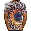 Χαμηλού Κόστους Σποτάκια LED-Ανδρικά Μέγεθος EU / US T-shirt Κλαμπ Κομψό στυλ street / Εξωγκωμένος Συνδυασμός Χρωμάτων / 3D / Γραφική Στρογγυλή Λαιμόκοψη Στάμπα Ουράνιο Τόξο / Κοντομάνικο