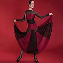 ราคาถูก ชุดเต้นรำลาติน-ชุดเต้นละติน ชุดเดรสต่างๆ สำหรับผู้หญิง Performance สแปนเด็กซ์ / ตารางไขว้ กระโปรงระบาย / ข้อต่อ แขนยาว ชุดเดรส
