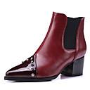 זול מגפי נשים-בגדי ריקוד נשים מגפיים Fashion Boots עקב עבה בוהן מחודדת ניטים PU מגפונים\מגף קרסול וינטאג' / בריטי סתיו חורף לבן / שחור / Wine / מסיבה וערב