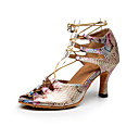 Χαμηλού Κόστους Μπότες Χορού-Γυναικεία Παπούτσια Χορού Φο Δέρμα Παπούτσια χορού λάτιν Πουά Τακούνια Τακούνι καμπάνα Εξατομικευμένο Ουράνιο Τόξο / Επίδοση