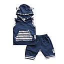 billige Sett med Gutter babyklær-Baby Gutt Aktiv / Grunnleggende Trykt mønster Ermeløs Kort Bomull Tøysett Blå