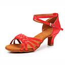ราคาถูก รองเท้าแบบลาติน-สำหรับผู้หญิง รองเท้าเต้นรำ ซาติน ลาติน ส้น ส้นCuban ตัดเฉพาะได้ สีน้ำตาล / สีกากี / แดง / Performance / หนังสัตว์
