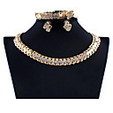 Χαμηλού Κόστους Σετ Κοσμημάτων-Γυναικεία Χρυσό Νυφικό κόσμημα σετ Σύνδεσμος / Αλυσίδα Κύμα Βίντατζ Στρας Σκουλαρίκια Κοσμήματα Χρυσό Για Γάμου Αρραβώνας Δώρο 1set