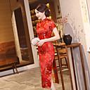 baratos Costumes étnicas e Cultural-Adulto Mulheres Lady Cheongsam Para Fardas Clube Poli / Mistura de Algodão Midi Cheongsam