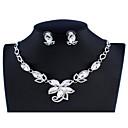 Χαμηλού Κόστους Θρησκευτικά Κοσμήματα-Γυναικεία Λευκό Νυφικό κόσμημα σετ Σύνδεσμος / Αλυσίδα Flower Shape Στυλάτο Κομψό Στρας Σκουλαρίκια Κοσμήματα Ασημί Για Γάμου Πάρτι Αρραβώνας Αργίες Φεστιβάλ 1set