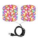 billige Graverte Ringer-ZDM® 2x10M Lysslynger 200 LED SMD 0603 Varm hvit / Kjølig hvit / Rød Vanntett / Nytt Design / Fest USB-ladet 1set