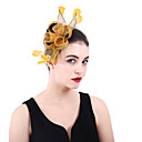 cheap Party Headpieces-Linen / Cotton Blend Fascinators / Flowers / Headdress with Feather / Floral 1 Party / Evening / Outdoor Headpiece