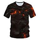 Χαμηλού Κόστους Walkie Talkie-Ανδρικά Μέγεθος EU / US T-shirt Κλαμπ Κομψό στυλ street / Εξωγκωμένος Συνδυασμός Χρωμάτων / 3D Στρογγυλή Λαιμόκοψη Στάμπα Μαύρο / Κοντομάνικο
