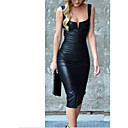 Χαμηλού Κόστους Πορτοφόλια-Γυναικεία Πάρτι Μικρό Μαύρο Φόρεμα Σέξι Γυναίκα Καμιζόλα Λεπτό Εφαρμοστό Θήκη Φόρεμα - Συμπαγές Χρώμα, Με αερόσολα Μίντι Βαθύ U / Ώμοι Έξω / Sexy