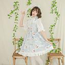 Χαμηλού Κόστους Κούρτινες Παραθύρου-Καλλιτεχνικό / Ρετρό Με Μοτίβο χαριτωμένο στυλ Φορέματα Στολές Ηρώων Αντικείμενα για Χάλοουιν Κοστούμι πάρτι Όλα Βελούδινο Σιφόν Ιαπωνικά Κοστούμια Cosplay Μπλε Απαλό / Φόρεμα / Μέχρι το γόνατο