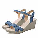 baratos Roupas de Balé-Mulheres Jeans Verão Sandálias Salto Plataforma Dedo Aberto Preto / Azul Escuro / Azul Claro