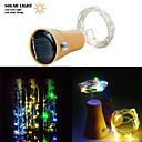 billige LED-stringlys-1 stk 2m 20led soldrevet vinflaske korkformet ledet kobbertrådstreng utendørs lett kranslys fest festival utendørs eventyrlys