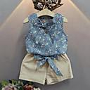 ราคาถูก หูฟังแบบมีสาย-เด็ก เด็กผู้หญิง Street Chic ทุกวัน ลายดอกไม้ ลายพิมพ์ เสื้อไม่มีแขน ปกติ ชุดเสื้อผ้า สีน้ำเงิน