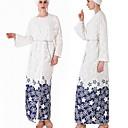 baratos Roupa Tradicional-Desgaste Tradicional e Cultural Abaya Mulheres Roupa Diária Poliéster Estampa Manga Longa Abaya