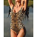 billige Bikinier og damemote-Dame Grunnleggende Bohem Svart Rosa Gul Grime Cheeky Høy Midje En del Badetøy - Ensfarget Leopard Blonde Åpen rygg S M L Svart