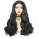 Χαμηλού Κόστους Ηχεία-Συνθετικές Περούκες Συνθετικές μπροστινές περούκες δαντέλας Κυματομορφή Σώματος Μέσο μέρος Ελεύθερο μέρος Δαντέλα Μπροστά Περούκα Μακρύ Μαύρο Συνθετικά μαλλιά 26inch Γυναικεία / Χωρίς Οσμή