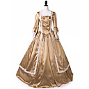 ราคาถูก เสื้อผ้าประวัติศาสตร์และวินเทจ-เจ้าหญิง Maria Antonietta สไตล์ลอรัล Rococo Victorian Renaissance หนึ่งชิ้น ชุดเดรส Party Costume Masquerade สำหรับผู้หญิง ลูกไม้ เครื่องแต่งกาย สีทองเหลือง Vintage คอสเพลย์ คริสมาสต์ Halloween