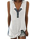 Χαμηλού Κόστους Γυναικείες Μπλούζες-Γυναικεία Αμάνικη Μπλούζα Βασικό Μονόχρωμο Λαιμόκοψη V Patchwork Λευκό