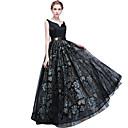 זול שמלות שושבינה-גזרת A צווארון V עד הריצפה טול ערב רישמי שמלה עם אפליקציות / סרט על ידי LAN TING Express