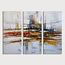 billige Abstrakte malerier-Hang malte oljemaleri Håndmalte - Abstrakt Moderne Inkluder indre ramme / Tre Paneler
