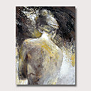 billige Abstrakte malerier-Hang malte oljemaleri Håndmalte - Abstrakt Mennesker Vintage Moderne Uten Indre Ramme