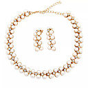 זול סטים של תכשיטים-בגדי ריקוד נשים לבן סטי תכשיטי כלה תגובת שרשרת אפונה בסיסי אופנתי דמוי פנינה אבן נוצצת עגילים תכשיטים זהב עבור חתונה Party ארוסים מתנה 1set