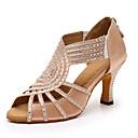 olcso Latin cipők-Női Dance Shoes Szatén Latin cipők Glitter / Kristály díszítés Magassarkúk Kúpsarok Személyre szabható Fekete / Mandula / Teljesítmény / Bőr / Gyakorlat