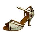 זול נעלי עקב לנשים-בגדי ריקוד נשים נעלי ריקוד סינטטיים נעליים לטיניות שחבור עקבים עקב רחב מותאם אישית זהב / אימון