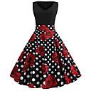 Χαμηλού Κόστους Στολές της παλιάς εποχής-Audrey Hepburn Χωριατοπούλα Πουά Ρετρό / Βίντατζ Δεκαετία του 1950 Rockabilly Φορέματα Χορός μεταμφιεσμένων Γυναικεία Στολές Κόκκινο+Μαύρο Πεπαλαιωμένο Cosplay Σχολείο Γραφείο Φεστιβάλ Αμάνικο
